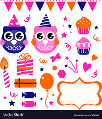 owl birthday party owl birthday party design elements royalty free vector image