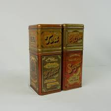 vintage metal kitchen canister sets vintage metal canister set advertising canister set 70s