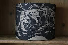ship in a ship in a battle drum lshade bonfieldblockprinters