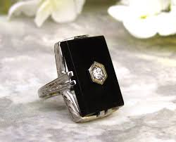 antique art deco engagement ring onyx and diamond ring 18k white