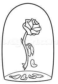 beauty and the beast rose drawing step by step disney characters