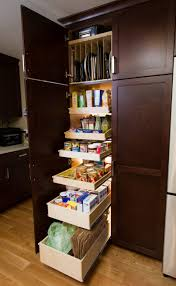 kitchen brown lacquer glossy finished slide out pantry storage