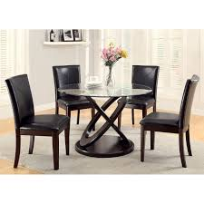 Dark Dining Room Table by Furniture Of America Ollivander 5 Piece Glass Top Dining Table Set