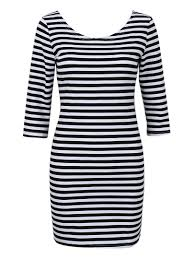 Black And White Striped Bodycon Dress Online Store Black And White Stripe 3 4 Sleeve Bodycon Dress
