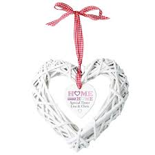 floral design home sweet home wicker heart