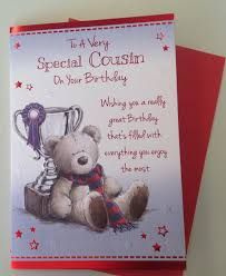 cousin birthday card u0027to a very special cousin u0027 with teddy bear