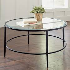 round glass top coffee table with metal base all glass coffee