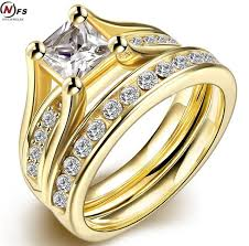 design rings images Eometr design male female yellow old plated wedding ring sets jpg