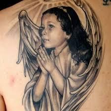 praying in angel wings tattoo stencil golfian com