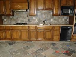 Small Kitchen Remodel Featuring Slate Tile Backsplash by Backsplash For Kitchen With Honey Oak Cabinets Google Search
