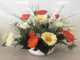 artificial flower arrangements poppy silk flower arrangement in ceramic vase 22 l x16 w x13 h