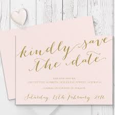 save the date card gold and blush pink wedding save the date matching