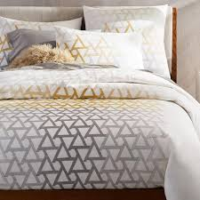 fading triangle gold gray bedding