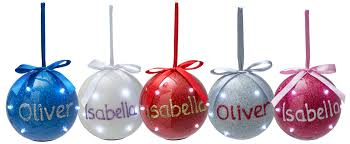 baubles ornaments personalised iridescent light up baubles