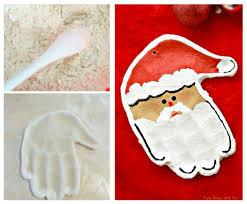 handprint santa salt dough ornament easy peasy and fun