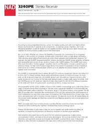 nad 3240pe user manual 2 pages