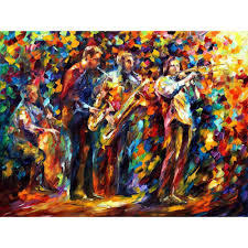 jazz home decor handmade canvas wall pictures pop art jazz band palette knife oil