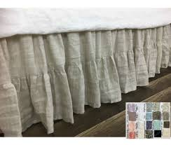 linen bed skirt gathered ruffle with mermaid long ruffle hem