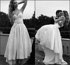 Cheap Online Wedding Dresses Spring Fall High Low Wedding Dresses 2015 Lace Beach Sash Lihi Hod