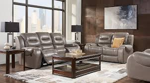 Rooms To Go Living Room Furniture by Veneto Smoke Leather 5 Pc Living Room Reclining Living Rooms Gray