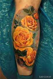 realistic yellow roses tattoo by led coult best tattoo ideas gallery