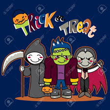Little Monster Costumes For Halloween by Three Little Kids In Funny Monster Costumes Going For Trick Or