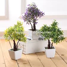 Home Decor Artificial Plants Tree Sapling Green Artificial Fake Plants Tree Plastic Fabric Home
