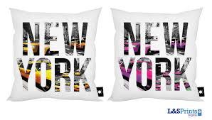 new york yellow pink home decor cushion