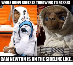 Drew Brees Memes - while drew brees is throwing to passes emes cam newton is on the