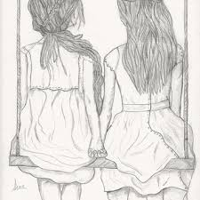two women art print from a pencil sketch from janesappleetsy on