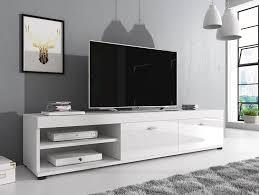 cuisine tv fr meuble tv armoire support elsa blanc façades blanc brillant 140 cm