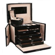 Computer Desk Lock by 5 Drawer Black Leather Jewelry Box Travel Case With Key Lock