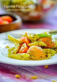 mezze penne caprese pasta salad with pesto vinaigrette recipe