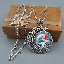 girl necklace pendant images Mermaid necklace goddess jewelry moon pendant disney JPG