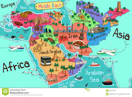 Africa Middle East Map by Middle East Countries Map In Cartoon Style Stock Vector Image