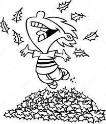 cartoon boy jumping in leaf pile u2014 stock vector ronleishman