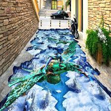3d flooring wallpaper seabed shark murals floor painting