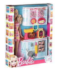 buy barbie mattel v8656 barbie doll and kitchen accessory set