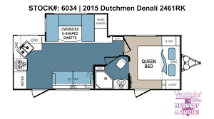 2015 R Pod Floor Plans by Dutchmen Denali 2461rk New Rear Kitchen Travel Trailer 2015