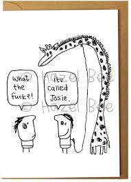 josie the giraffe rude greeting card by hazel bee 2 75