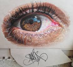 hyperrealistic eyes drawn with colored pencils colossal