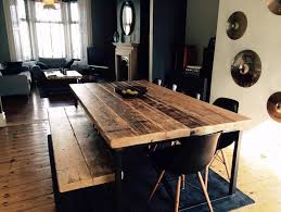 industrial mill style reclaimed wood dining table and bench www