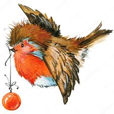 winter bird robin and christmas decorations parts for cards or