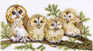 four owls cross stitch kit by rosenstand