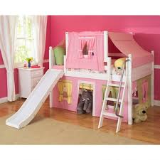 Single Bunk Bed With Desk Furniture Girls Princess Castle Bunk Bed With Slide Plus Desk And