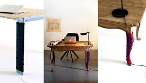 Hide Desk Cables Knitted Sock Serves As A Cable Concealment For Desktop Design