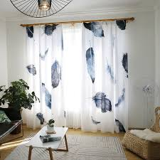 Patterned Window Curtains Poly Cotton Black And White Feather Patterned Window Curtains