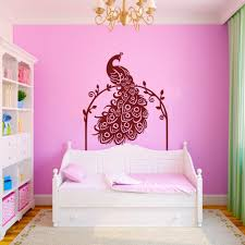 Vinyl Headboard Decal by Quilted Headboard Decal Peacock Wall Decal With Vines Animal Birds