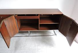 mid century modern walnut and chrome credenza milo baughman style