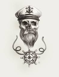 beard skull nautical pencil sketch with sailor captains hat